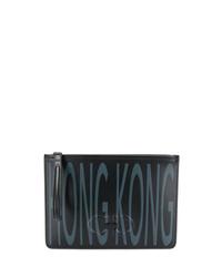 schwarze bedruckte Leder Clutch Handtasche von Salvatore Ferragamo