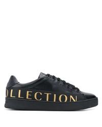 schwarze bedruckte Leder niedrige Sneakers von Versace Collection
