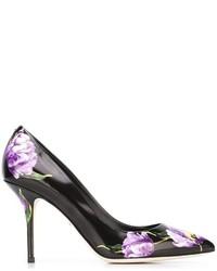 schwarze bedruckte Leder Pumps von Dolce & Gabbana