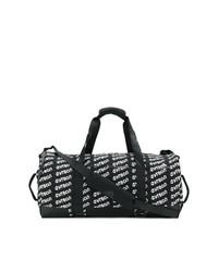 schwarze bedruckte Leder Reisetasche von Gosha Rubchinskiy