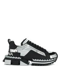 schwarze bedruckte Leder Sportschuhe von Dolce & Gabbana