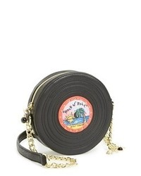 schwarze bedruckte Leder Umhängetasche