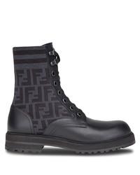 schwarze bedruckte Lederfreizeitstiefel von Fendi