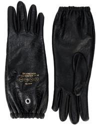 schwarze bedruckte Lederhandschuhe von Balenciaga