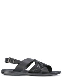 schwarze bedruckte Ledersandalen von Emporio Armani