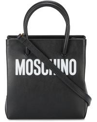 schwarze bedruckte Ledertaschen von Moschino