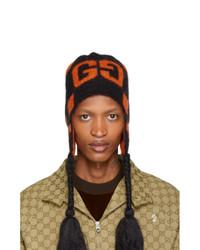 schwarze bedruckte Mütze von Gucci