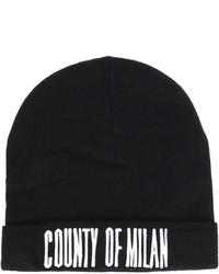 schwarze bedruckte Mütze von Marcelo Burlon County of Milan