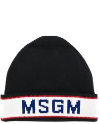 schwarze bedruckte Mütze von MSGM
