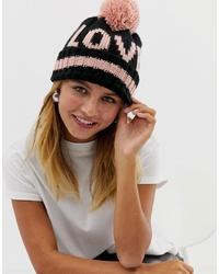 schwarze bedruckte Mütze von New Look
