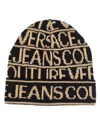 schwarze bedruckte Mütze von VERSACE JEANS COUTURE