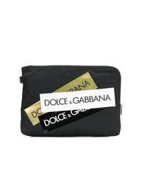 schwarze bedruckte Segeltuch Clutch Handtasche von Dolce & Gabbana