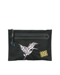 schwarze bedruckte Segeltuch Clutch Handtasche von Lanvin