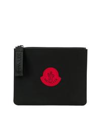 schwarze bedruckte Segeltuch Clutch Handtasche von Moncler