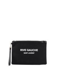 schwarze bedruckte Segeltuch Clutch Handtasche von Saint Laurent