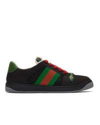 schwarze bedruckte Segeltuch niedrige Sneakers von Gucci