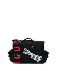 schwarze bedruckte Segeltuch Sporttasche von DSQUARED2