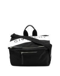 schwarze bedruckte Segeltuch Umhängetasche von Givenchy