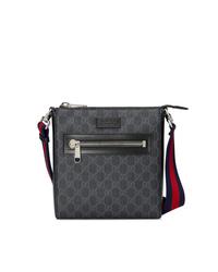 schwarze bedruckte Segeltuch Umhängetasche von Gucci