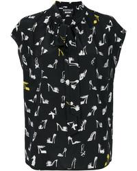 schwarze bedruckte Seide Bluse von Moschino