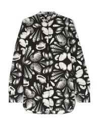 schwarze bedruckte Seide Langarmbluse von Alexander McQueen