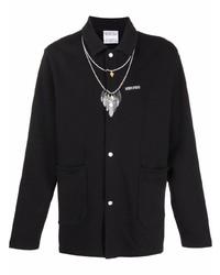 schwarze bedruckte Shirtjacke von Marcelo Burlon County of Milan