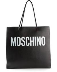 schwarze bedruckte Shopper Tasche aus Leder