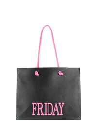 schwarze bedruckte Shopper Tasche aus Leder von Alberta Ferretti