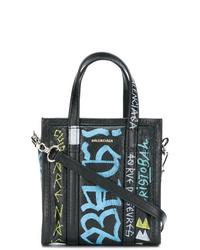 schwarze bedruckte Shopper Tasche aus Leder von Balenciaga