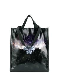 schwarze bedruckte Shopper Tasche aus Leder von Balmain