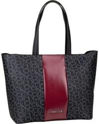 schwarze bedruckte Shopper Tasche aus Leder von Calvin Klein