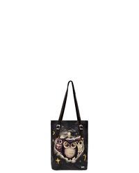 schwarze bedruckte Shopper Tasche aus Leder von DOGO
