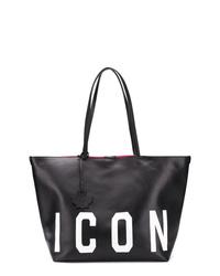 schwarze bedruckte Shopper Tasche aus Leder von Dsquared2