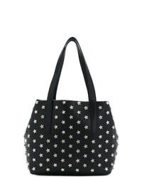 schwarze bedruckte Shopper Tasche aus Leder von Jimmy Choo