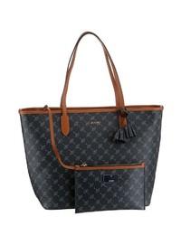 schwarze bedruckte Shopper Tasche aus Leder von Joop!
