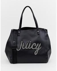 schwarze bedruckte Shopper Tasche aus Leder von Juicy Couture