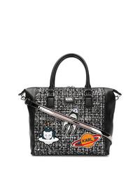 schwarze bedruckte Shopper Tasche aus Leder von Karl Lagerfeld