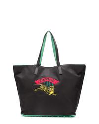 schwarze bedruckte Shopper Tasche aus Leder von Kenzo