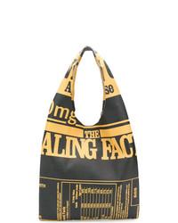 schwarze bedruckte Shopper Tasche aus Leder von Maison Margiela
