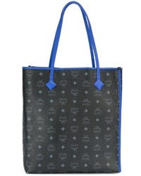 schwarze bedruckte Shopper Tasche aus Leder von MCM