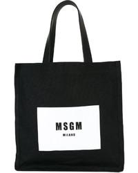 schwarze bedruckte Shopper Tasche aus Leder von MSGM