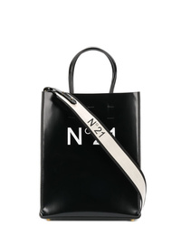 schwarze bedruckte Shopper Tasche aus Leder von N°21
