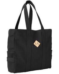 schwarze bedruckte Shopper Tasche aus Segeltuch