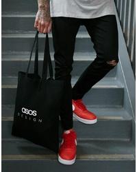 schwarze bedruckte Shopper Tasche aus Segeltuch von ASOS DESIGN
