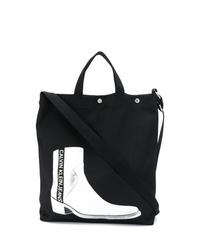 schwarze bedruckte Shopper Tasche aus Segeltuch von Calvin Klein