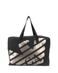 schwarze bedruckte Shopper Tasche aus Segeltuch von Emporio Armani