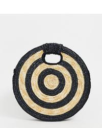 schwarze bedruckte Shopper Tasche aus Stroh von South Beach