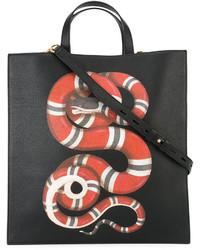 schwarze bedruckte Shopper Tasche von Gucci