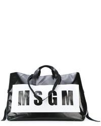 schwarze bedruckte Shopper Tasche von MSGM