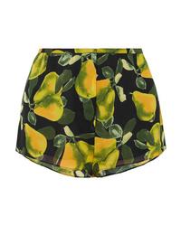 schwarze bedruckte Shorts von Marc Jacobs